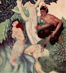 'Pan and Syrinx' / Pan fell in love with the nymph Syrinx, who had until then eluded the pursuit of both gods and satyrs. The nymphs of the river heard her prayers and turned her into marsh reeds. By Edmund Dulac. Edmund Dulac, Image Fruit, Image Nature Fleurs, Images Vintage, Faeries, Art Images, Illustrators, Fairy Tales, Fine Art Prints