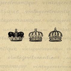 Digital Image Crown Set Printable Royal by VintageRetroAntique @ VintageRetroAntique.Etsy.com