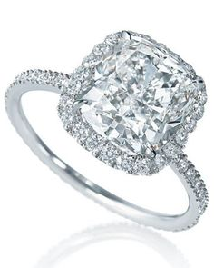 Harry Winston. Micropave Cushion-Cut Diamond in a platinum setting Engagement Ring