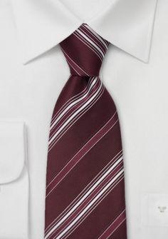 Gestreifte Krawatte dunkelrot weiß