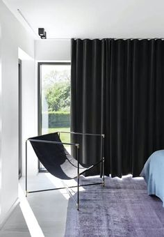 Velor curtains in Emil Thorup& bedroom in the cottage Black And White Interior, White Interior Design, Home Bedroom, Bedroom Decor, Build My Own House, Seattle Apartment, Home Curtains, Cottage Curtains, Grey Houses