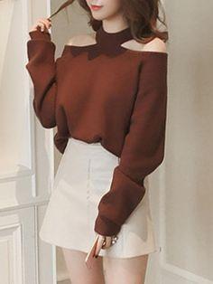 #BerryLook - #berrylook Solid Open Shoulder Loose Sweater - AdoreWe.com