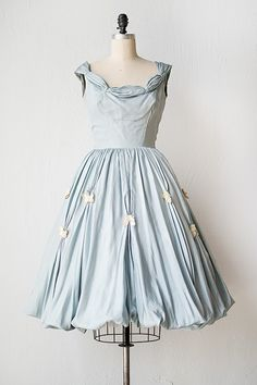 vintage 1950s blue party dress with butterflies