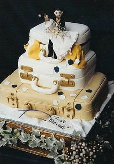 Stacked Luggage Cake - Add Tags With Places You 2 Have Travelled To Together & Our Honeymoon - My Phil's Groom's Cake