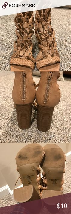 Tan lacy block heels Tan lacy block heels. Laces around the ankle. Zippers in the back of the heels. Only worn a few times Merona Shoes Heels