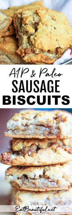 Paleo and AIP Sausage Biscuits are the ultimate in simple yet indulgent pleasures! All of the macronutrients are present — carbs, protein and fat — making this savory pastry satisfying! Homemade Breakfast Sausage, Turkey Breakfast Sausage, Paleo Breakfast, Breakfast Recipes, Breakfast Biscuits, Breakfast Ideas, Sausage Muffins, Sausage Biscuits, Healthy Recipes