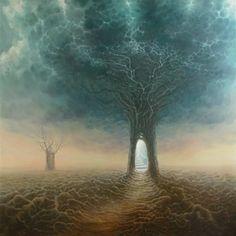 A09, portal tree, stormy sky, stairs into light, by Tomasz Alen Kopera.