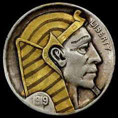 Ralph Perrico - Pharoah Ancient Egyptian Artifacts, Hobo Nickel, Coin Art, Dollar Coin, Old Coins, Goods And Services, Art Forms, Sculpture Art, Cactus