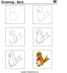 Vogels tekenen met kleuters / desenhando+animais