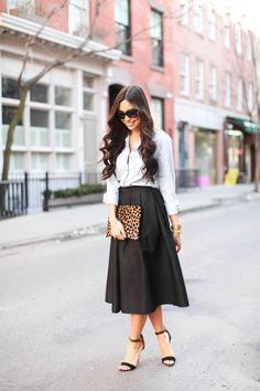 Spring outfit: Midi Skirt and denim top. Add leopard prints and you are good to go!  @ With Love From Kat.