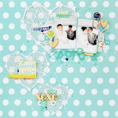 """Layout: LO """"Shine Your light"""" - Use patterned paper as a background and then die cut images from white cardstock for a beautiful effect."""