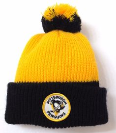 955326192f1 rare vtg 80s COCA COLA PITTSBURGH PENGUINS POM BEANIE Yellow Black Winter  Hat