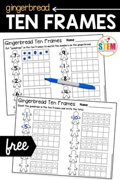 These adorable gingerbread ten frames are the perfect follow up to one of my favorite holiday children's stories: The Gingerbread Man! The activity is a playful way for preschool and kindergarten kids to work on numbers and counting.