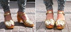 Maguba —create your own — clogs in orange and gold. Awesome!