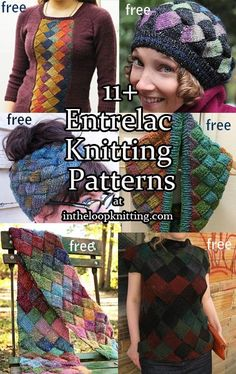 Knitting patterns using Entrelac technique including hat, sweater, cowl, scarf, blanket and more. Most of the patterns are free