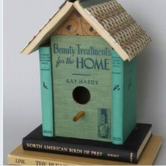 Bird house from books from the Dumpster Divas