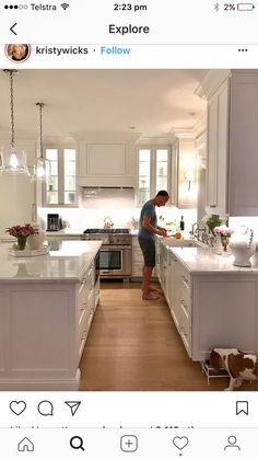 Kyle in kitchen with Chessie. Kitchen Redo, Home Decor Kitchen, Kitchen Layout, New Kitchen, Home Kitchens, Kitchen Remodel, Kitchen Dining, Kitchen Ideas, Küchen Design