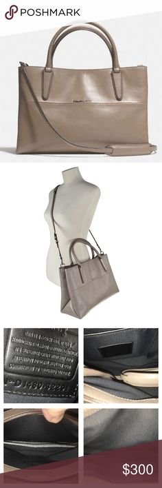 """NWT Coach Soft Borough NWT Coach Soft Borough Bag in Nappa Leather Color is Earth! This bag has a sleek modern design so this beauty is suitable for any season! It has middle divider, 1 zip pocket, multiple slip pockets magnetic Closure! Double handle drop is approx 5.5"""" attachable Crossbody/Shoulder strap is approx 20"""" Bag measures approx 13.75 X 9 X 5.5"""" dust bag included Research as of 5/27 $351-468 ❌no trades price firm❌ Coach Bags Satchels"""