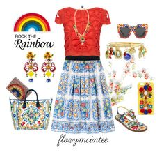 """""""Rock the Rainbow - Dolce & Gabbana"""" by florymcintee on Polyvore featuring Anya Hindmarch, Dolce&Gabbana and Alice + Olivia"""