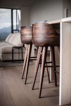 The Design Walker — Wooden bar stools: Wooden Chairs, Wooden Stools,. Chaise Haute Bar, Chaise Bar, Wooden Furniture, Home Furniture, Furniture Design, Walnut Furniture, Kitchen Furniture, Chair Design, Poltrona Design