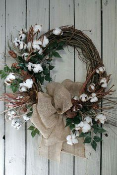 Cotton stems and pinecone wreath
