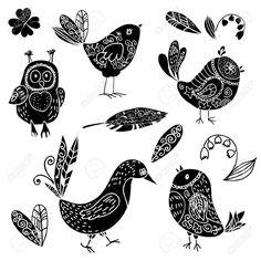 Zwarte Silhouetten Vogel En Bloem Doodle Set. Vectorillustratie Royalty Vrije Cliparts, Vectoren, En Stock Illustratie. Image 19870682.