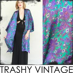 vtg 80s 90s gypsy SILKY PAISLEY FLORAL boho DRAPED KIMONO slv cape jacket S/M/L $58.00