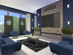 chemy's Kismet Modern Teen Bedroom, Master Bedroom, Modern Family, Home And Family, Sims 4 Modern House, Sims House Design, Sims 4 Houses, Outdoor Furniture Sets, Outdoor Decor