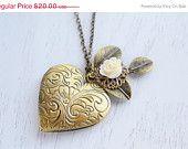 Heart Locket Necklace Dainty Gold Heart Locket in Brass $15