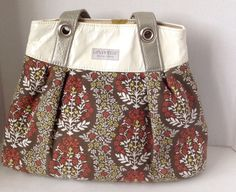 Lexiwynn Shoulder Tote Fall Colors Floral Print One of Kind Leather Fabric GUC | eBay