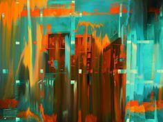 Kauf 'Stadt in Orange' von Gabi Hampe auf Leinwand, Alu-Dibond, (gerahmten) Postern und Xpozer.
