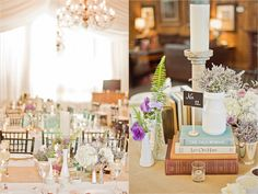 Library Rustic Country Books Milk Glass Bookend Centerpiece | Adaumont Farm, Rustic Barn Wedding | Liz Grogan  Photography | Leigh Pearce Weddings, Greensboro North Carolina Wedding Planner