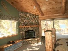 Stone fireplace with long mantel Stone Fireplaces, Cabin Kitchens, Simple House, Master Bedroom, Restoration, This Is Us, House Ideas, Cottage, Rustic