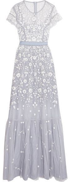 Needle & Thread - Meadow Embroidered Tulle Gown - Light blue Inspired by Victorian lace, Needle & Thread's 'Meadow' gown is embroidered with beautiful white flowers. This floor-grazing piece is cut from swathes of delicate lavender tulle and trimmed with a grosgrain band at the waist. The integrated slip lining leaves sheer panels at the neckline and shoulders - show them off with an updo.