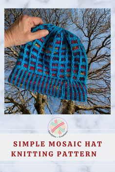Knit a lightweight hat for those cool spring nights. Bright and colorful, free mosaic knitting pattern. Uses one strand of yarn per row to create a fair isle look. Knitting Patterns, Crochet Patterns, Ribbon Candy, Slip Stitch, One Color, Knitted Hats, Knit Crochet, Mosaic, Beanie