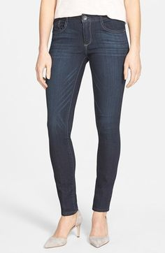 Free shipping and returns on Wit & Wisdom 'Super Smooth' Stretch Denim Skinny Jeans (Dark Navy) (Nordstrom Exclusive) at Nordstrom.com. Contrast topstitching highlights the sleek silhouette of super-stretchy jeans designed for a legging-like fit in a deep navy wash. A touch of whiskering adds broken-in appeal.