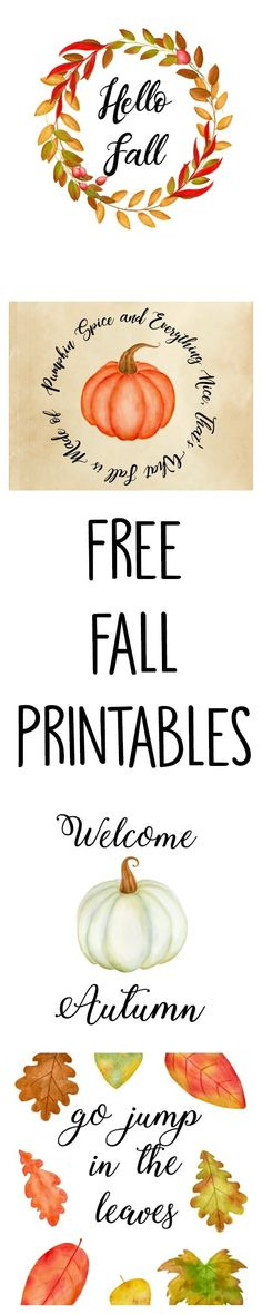 5 Free Fall Printables. These would add such a pretty fall touch to my home decor.