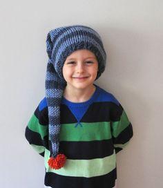 Boys Elf Hat in Blue Slouchy Knit Hat Striped by DokumaAccessories, $24.90