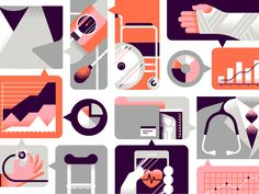 One of two editorial illustrations I recently completed for Infor on the use of data science in the health system.