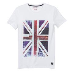 T-shirt para homem, estampado bandeira, Soft Grey | La Redoute