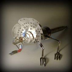 Lizard metal assemblagekitchen robotleuckit by leuckit on Etsy, $115.00