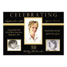 50th Birthday Party Tri Photo Invitations…