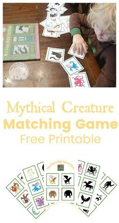 Shadow matching game for preschoolers with a Mythical Creature Theme! #preschool #matching #game #kidsactivities