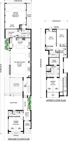 will give you more than you ever thought possible on wide block. This home design illustrates that it's not about what you've got but what you do with it. Narrow House Designs, Narrow Lot House Plans, Best House Plans, Dream House Plans, Modern House Plans, Atrium, Beach House Floor Plans, Architectural Floor Plans, Architectural Styles