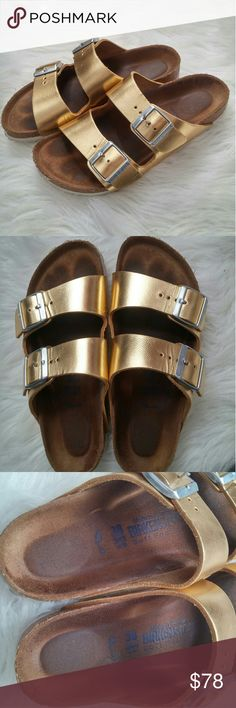 Metallic Gold Birkenstock Arizona 38 Gently worn - some wear photographed but in overall great shape! Top of uppers in excellent shape with just some small bends. Inside upper of left shoe has some light marks. Footbeds discolored but not in bad condition. Little wear to bottoms. Fun and perfect for summertime!!  BUNDLE your likes and shoot me and OFFER! Glad to negotiate. Hundreds of items available for discounted bundle offers!  Follow on IG: @the.junk.drawer Birkenstock Shoes Sandals