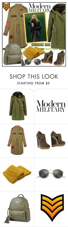 """""""MODERN MILITARY!!!"""" by kskafida ❤ liked on Polyvore featuring Avery, Desigual, YSL RIVE GAUCHE, Ray-Ban, Blugirl and modern"""