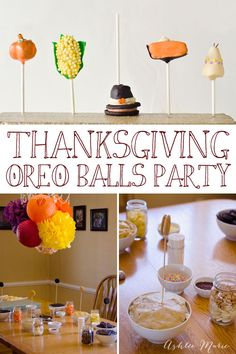 I threw an early Thanksgiving make and take party, where we made themed OREO balls, Pumpkins, Corn on the Cob, Pilgrims hat, Pumpkin Pie slices and Teepee's!