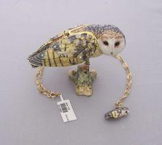 New Trinket Box Gift Crystals Barn Owl Bird Animal Necklace