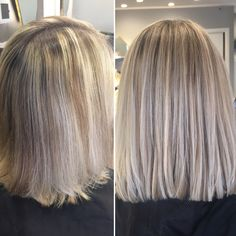 Beige ash blended highlights and balayage before and after