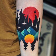 *🌃🔴⛰* Futuristic city & landscape Made with and Future Tattoos, Love Tattoos, Beautiful Tattoos, Body Art Tattoos, Tattoo Drawings, I Tattoo, Incredible Tattoos, Anchor Tattoos, Bird Tattoos